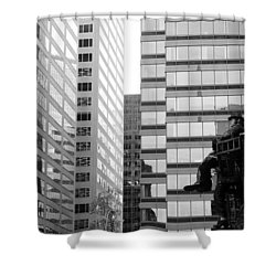 Shower Curtain featuring the photograph Observing The City by Valentino Visentini
