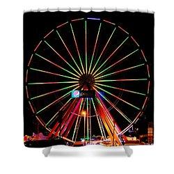 Oc Pier Ferris Wheel At Night Shower Curtain by William Bartholomew