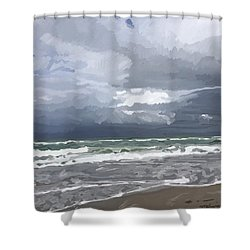 Ocean And Clouds Over Beach At Hobe Sound Shower Curtain