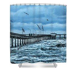 Ocean Beach Fishing Pier Shower Curtain