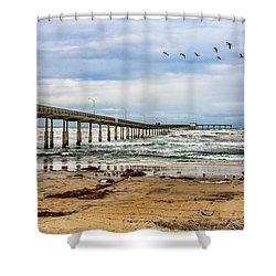 Ocean Beach Pier Fishing Airforce Shower Curtain