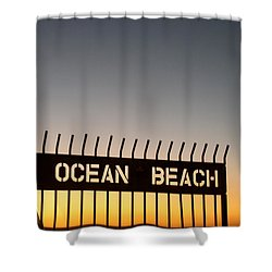 Ocean Beach Pier Gate Shower Curtain by Christopher Woods