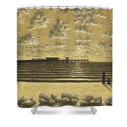 Ocean Beach Pier Sunset 01 Shower Curtain