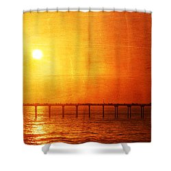 Ocean Beach Pier Sunset Shower Curtain