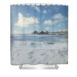 Ocean Blue At The Pier Shower Curtain