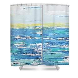 Ocean Blue Shower Curtain by Judi Goodwin