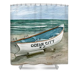 Ocean City Lifeguard Boat Shower Curtain