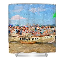Ocean City Rescue Boat 2 Shower Curtain