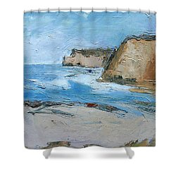 Shower Curtain featuring the painting Ocean Cliffs by Gary Coleman