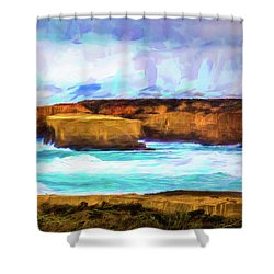 Shower Curtain featuring the photograph Ocean Cliffs by Perry Webster