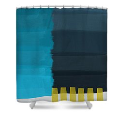 Ocean Front Walk- Art By Linda Woods Shower Curtain by Linda Woods