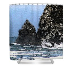 Ocean Haystack Rock Shower Curtain by Methune Hively