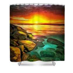 Ocean Lit In Ambiance Shower Curtain