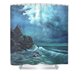 Seascape And Moonlight An Ocean Scene Shower Curtain