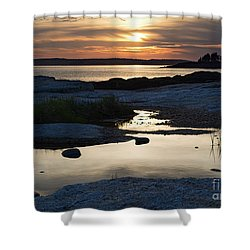 Ocean Point Sunset In East Boothbay Maine  -23091-23093 Shower Curtain
