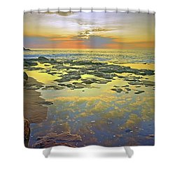 Shower Curtain featuring the photograph Ocean Puddles At Sunset On Molokai by Tara Turner