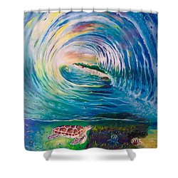 Shower Curtain featuring the painting Ocean Reef Beach by Dawn Harrell