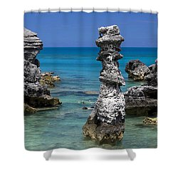 Ocean Rock Formations Shower Curtain by Sally Weigand