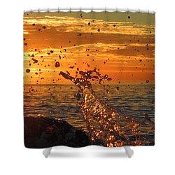 Ocean Splash Shower Curtain by L Hollis