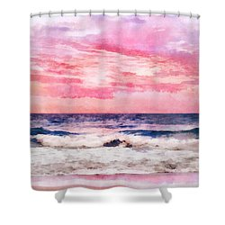 Shower Curtain featuring the digital art Ocean Sunrise by Francesa Miller