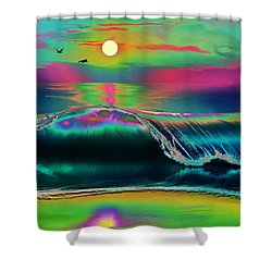 Ocean Sunset Abstract Shower Curtain