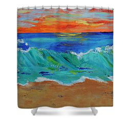 Ocean Sunset Shower Curtain by Haleh Mahbod