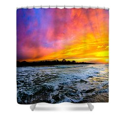 Ocean Sunset Landscape Photography Red Blue Sunset Shower Curtain by Eszra Tanner
