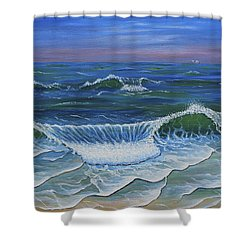 Shower Curtain featuring the painting Ocean Waves Dance At Dawn Original Acrylic Painting by Georgeta Blanaru