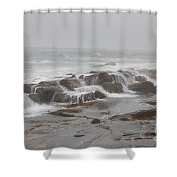 Shower Curtain featuring the photograph Ocean Waves Over Rocks by Frank Stallone