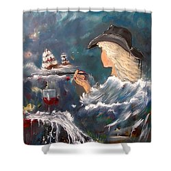 Ocean Wine Shower Curtain