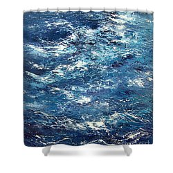 Ocean's Blue Shower Curtain by Valerie Travers