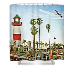 Oceanside Harbor Lighthouse Shower Curtain