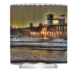 Oceanside Pier Hdr  Shower Curtain