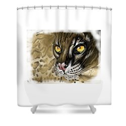 Shower Curtain featuring the digital art Ocelot by Darren Cannell