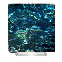 Shower Curtain featuring the photograph Ocean Water Reflections Island Santorini Greece by Colette V Hera  Guggenheim