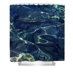 Shower Curtain featuring the photograph Ocean Water Reflections.santorini Island Greece by Colette V Hera  Guggenheim