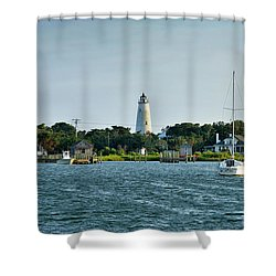 Ocracoke Island Lighthouse From Silver Lake Shower Curtain