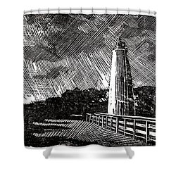 Shower Curtain featuring the painting Ocracoke Island Lighthouse II by Ryan Fox