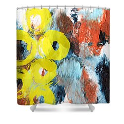October- Abstract Art By Linda Woods Shower Curtain