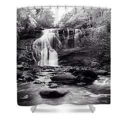 October At Bald River Falls Sepia Shower Curtain