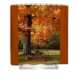Shower Curtain featuring the photograph October Day Love Generosity Hope by Diane E Berry