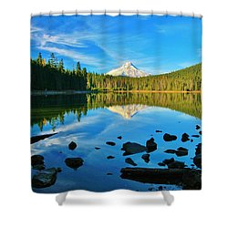 October On The Lake Shower Curtain by Sheila Ping