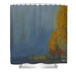 October On The River Shower Curtain by Stanza Widen