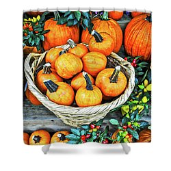 Shower Curtain featuring the photograph October Pumpkins by Joan Reese