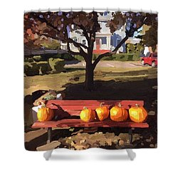 October Pumpkins Shower Curtain
