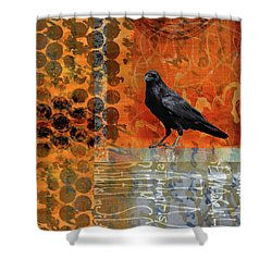 Shower Curtain featuring the painting October Raven by Nancy Merkle