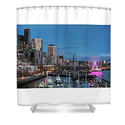 October Twilight Seattle Waterfront Shower Curtain