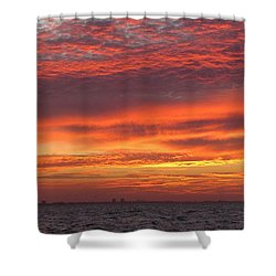 Shower Curtain featuring the photograph October's Sunrise On Sanibel Island by Melinda Saminski