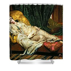 Odalisque With A Lute Shower Curtain by Hippolyte Berteaux