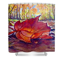 Shower Curtain featuring the painting Ode To A Fallen Leaf Painting by Kimberlee Baxter